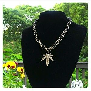 NEW Antiqued Brass Double Link Pot Leaf Necklace